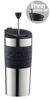 Bodum Kaffeebereiter Travel Press Set, schwarz