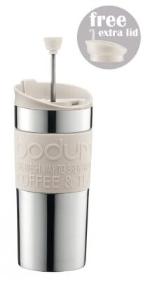 Bodum Kaffeebereiter Travel Press Set, cremefarben