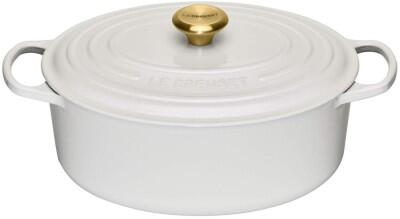 Le Creuset Bräter Signature oval in weiss mit Gold-Knauf, 31 cm