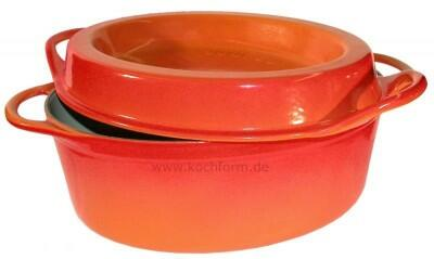 Le Creuset Saftbräter Doufeu oval aus Gusseisen in ofenrot