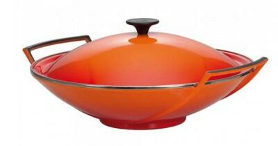 Le Creuset Wok aus Gusseisen in ofenrot