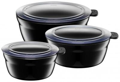 Silit Frischhalteschüsseln Fresh Bowls in Piano Black, 3er-Set